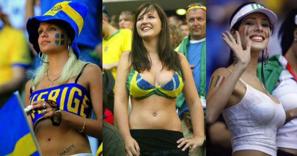 Many swedish soccer fans topless are not
