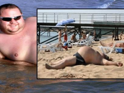 VILLE IMPONERE JENTER: Geir besvimte på stranden etter å ha holdt magen inne i 3 timer