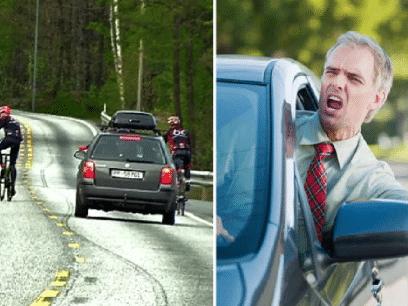 SISTE NYTT: Sjåfør døde av irritasjon etter å ha kjørt bak syklister i 20 minutter!