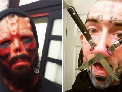 Folk som har tatovert og piercet i stykker ansiktet sitt!