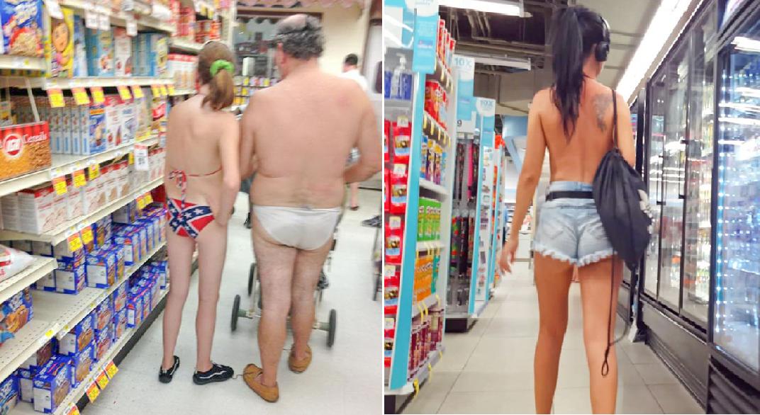 20 nakne folk som syntes det var helt greit å handle mat i trusa på sommeren. Er det greit?