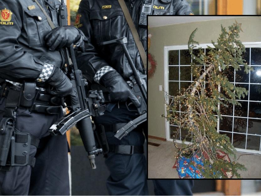 SISTE NYTT: Store politistyrker rykket ut til husbråk etter at mann kjøpte juletre på egenhånd